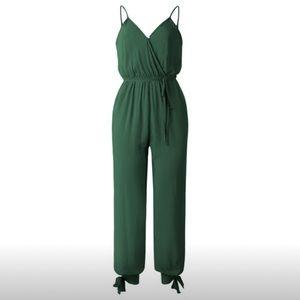 Spaghetti Strap Green Jumpsuit